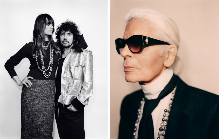 Caroline De Maigret & Yarol Poupaud and Karl Lagerfeld at Chanel Métiers d'Art, 2016